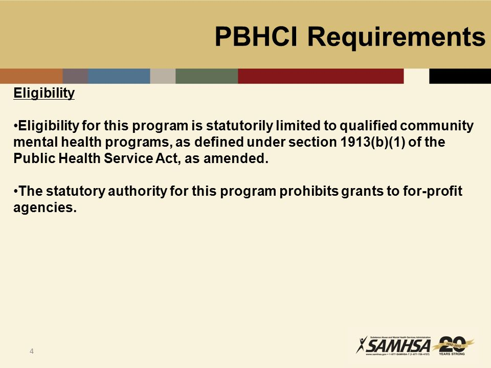 PBHCI Requirements 5 SAMHSA believes that only existing, experienced, and appropriately credentialed organizations with demonstrated infrastructure and expertise will be able to provide required services quickly and effectively.