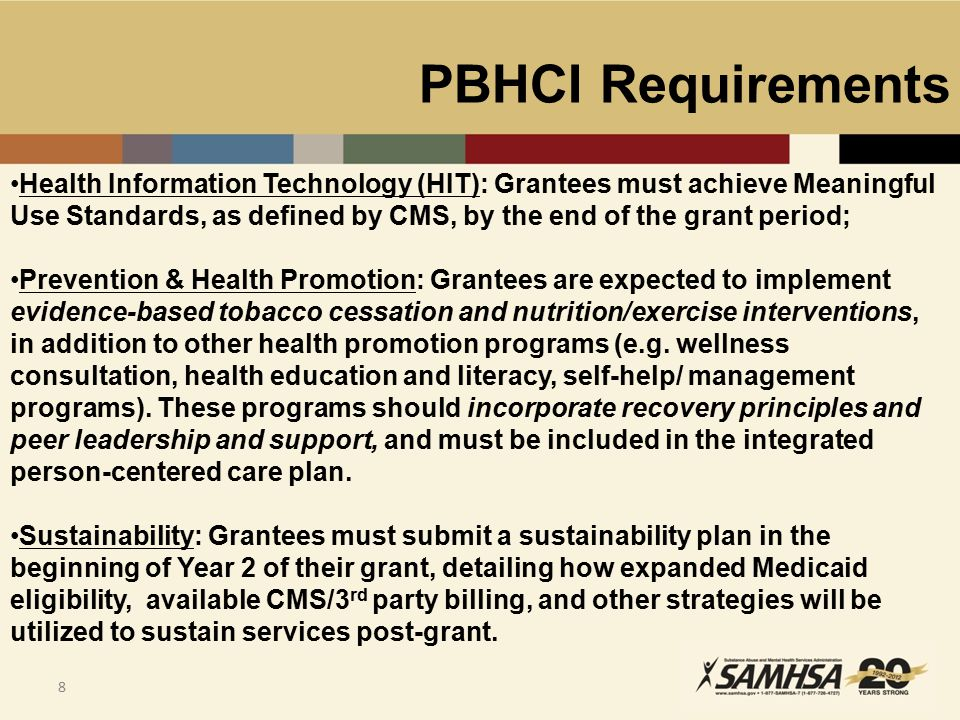 PBHCI Requirements 9 HHS/CMS Million Hearts Initiative ™: Supports cardiovascular disease prevention activities across the public and private sectors to prevent 1 million heart attacks and strokes by 2017.
