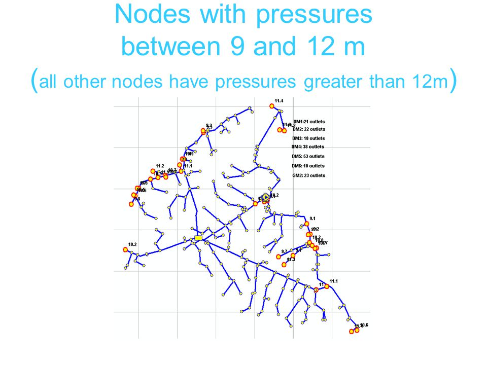 Nodes with pressures between 9 and 12 m ( all other nodes have pressures greater than 12m )