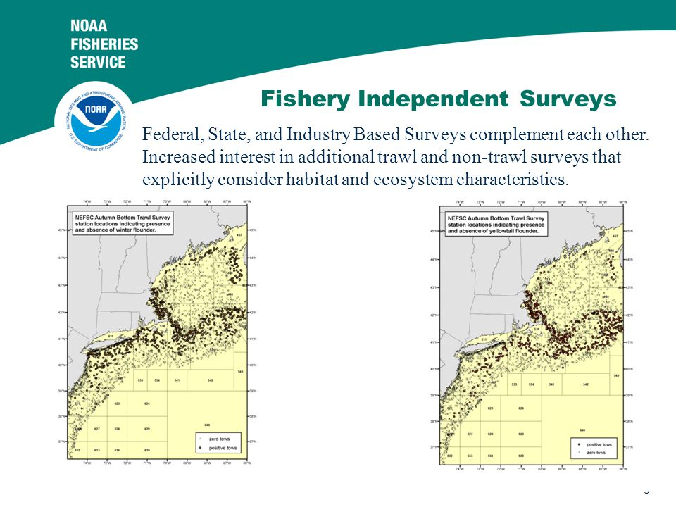 3 Fishery Independent Surveys Federal, State, and Industry Based Surveys complement each other.