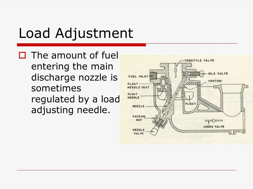 Load Adjustment  The amount of fuel entering the main discharge nozzle is sometimes regulated by a load adjusting needle.