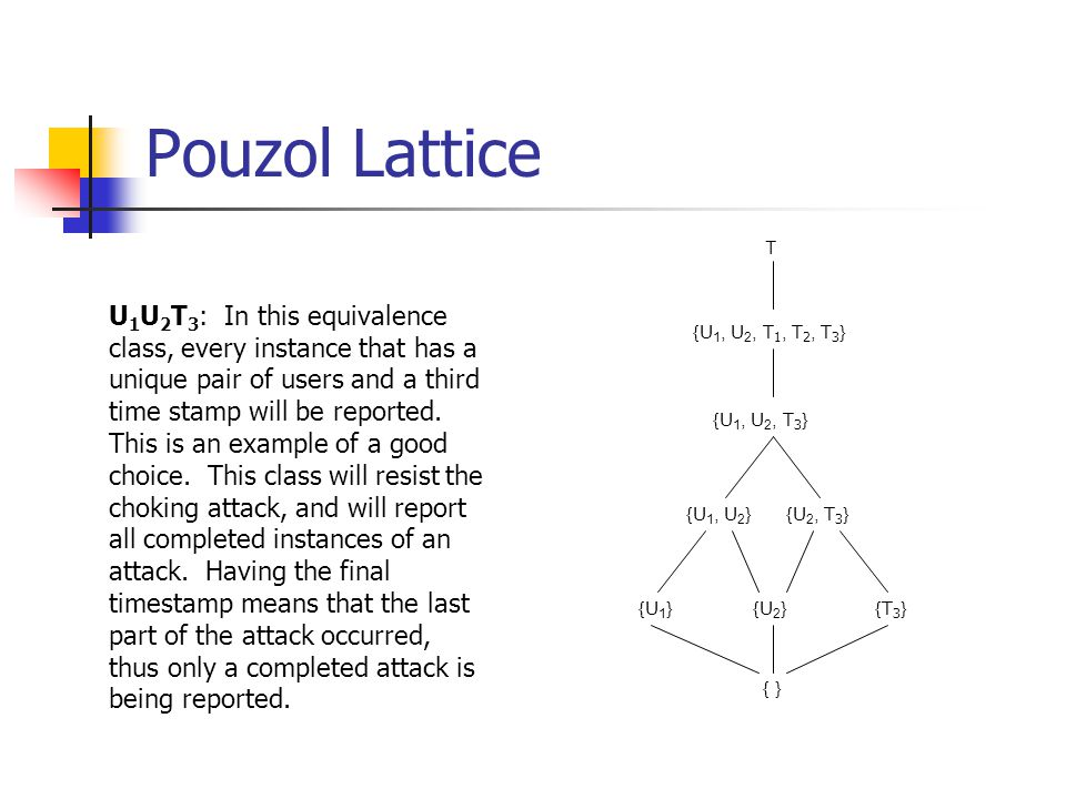 Pouzol Lattice Т {U 1, U 2, T 1, T 2, T 3 } {U 1, U 2, T 3 } {U 1, U 2 } {U 2, T 3 } {T3}{T3} {U 1 }{U 2 } { } U 1 U 2 T 3 : In this equivalence class, every instance that has a unique pair of users and a third time stamp will be reported.