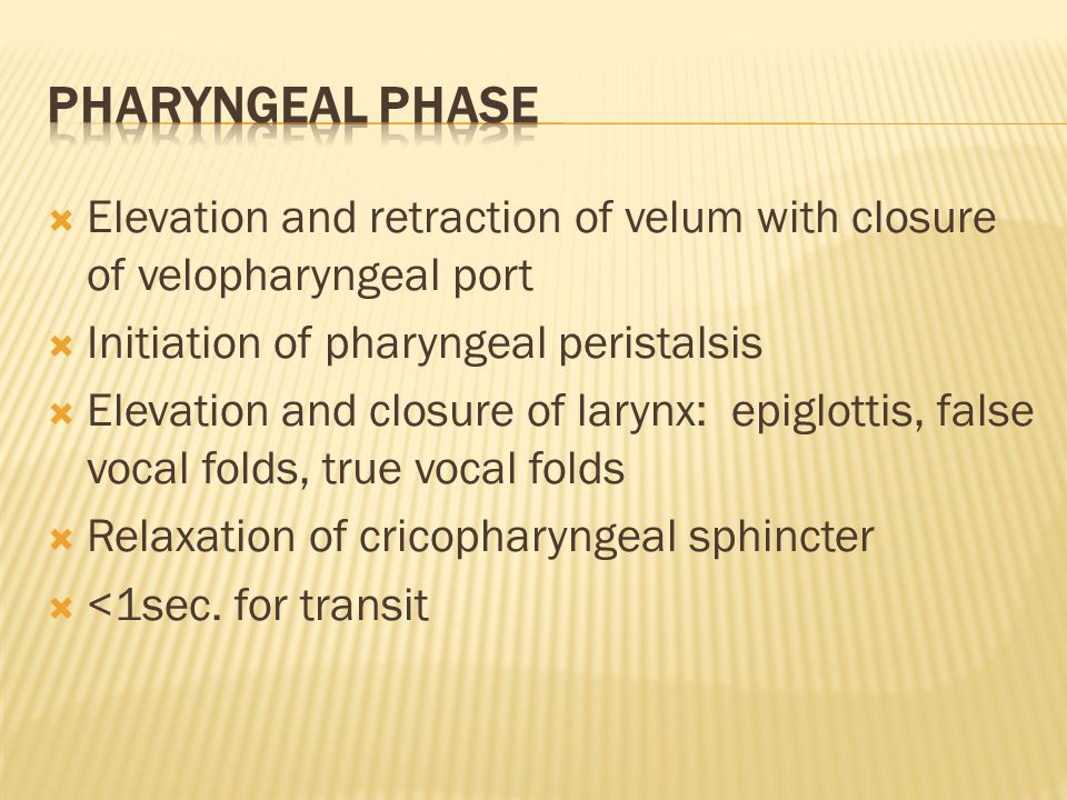  Elevation and retraction of velum with closure of velopharyngeal port  Initiation of pharyngeal peristalsis  Elevation and closure of larynx: epig
