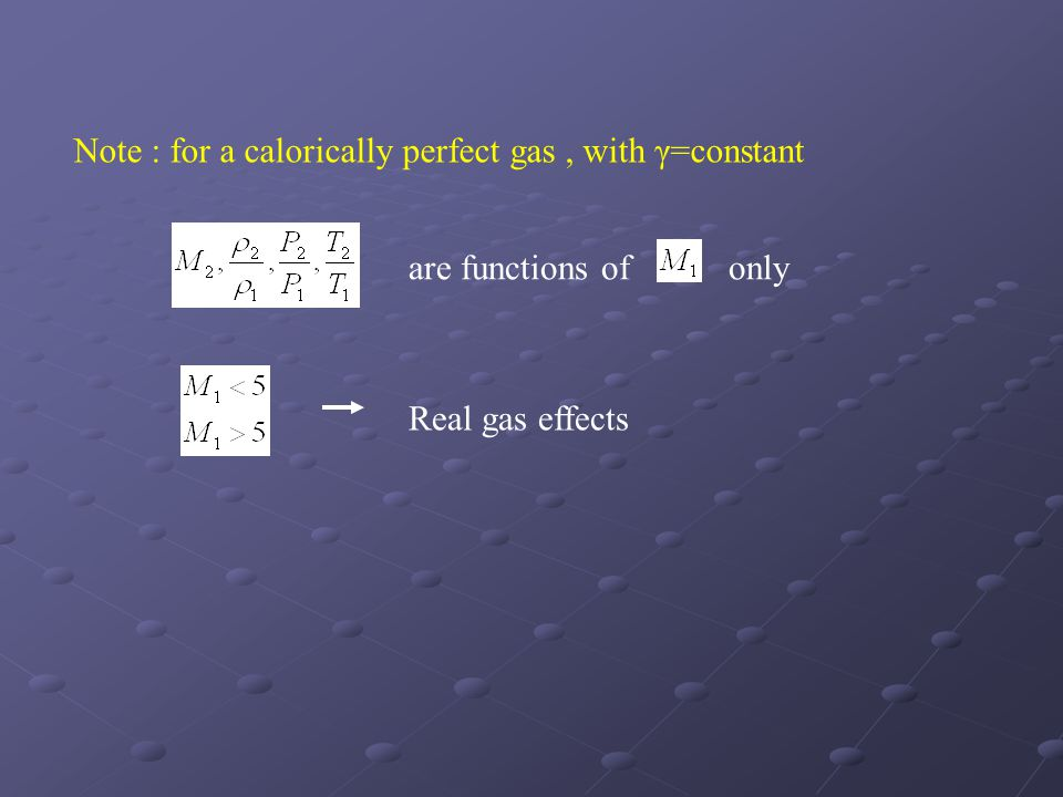 Note : for a calorically perfect gas, with γ=constant are functions of only Real gas effects
