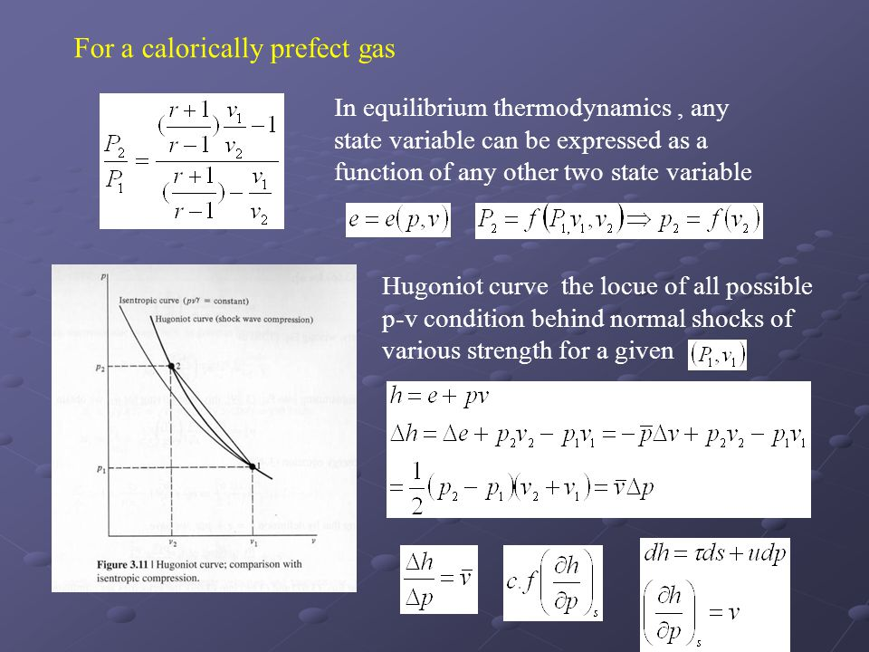 In equilibrium thermodynamics, any state variable can be expressed as a function of any other two state variable For a calorically prefect gas Hugonio