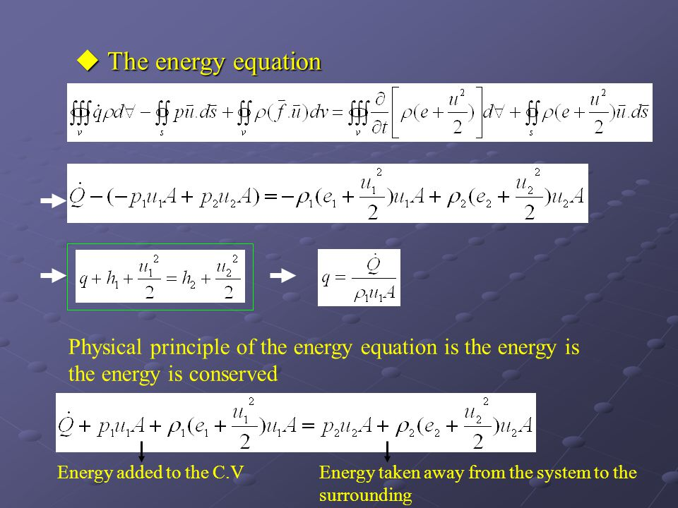  The energy equation Physical principle of the energy equation is the energy is the energy is conserved Energy added to the C.VEnergy taken away from