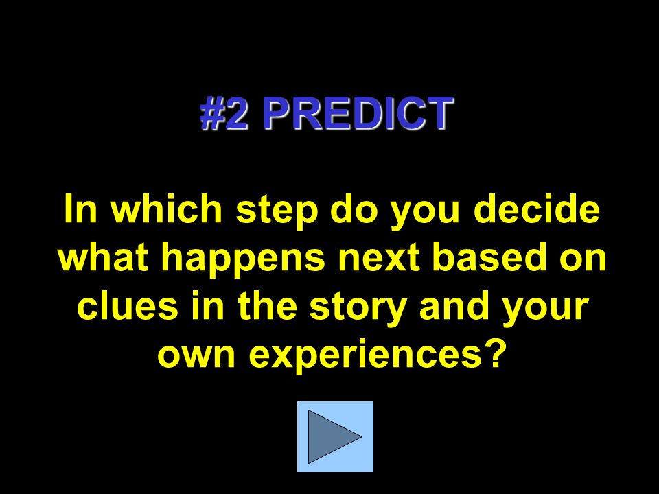 In which step do you stop to find the answers to your questions, check your predictions, & make new ones based on new info.? # 3 CLARIFY