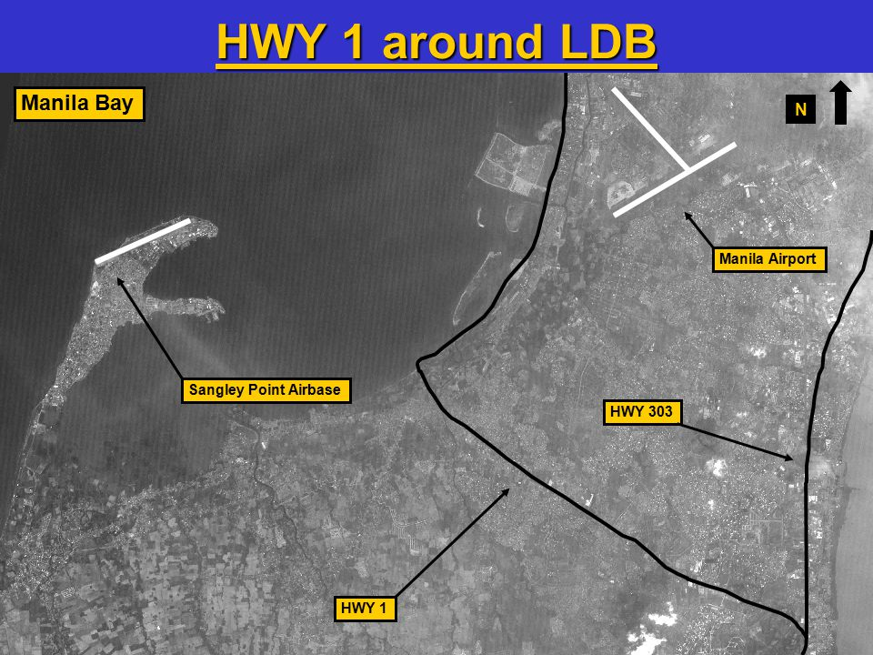 28 HWY 303 HWY 1 Manila Bay Sangley Point Airbase Manila Airport HWY 1 around LDB N