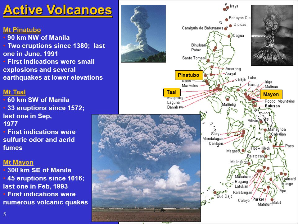 5 Mt Pinatubo 90 km NW of Manila Two eruptions since 1380; last one in June, 1991 First indications were small explosions and several earthquakes at lower elevations Mt Mayon 300 km SE of Manila 45 eruptions since 1616; last one in Feb, 1993 First indications were numerous volcanic quakes Active Volcanoes Mt Taal 60 km SW of Manila 33 eruptions since 1572; last one in Sep, 1977 First indications were sulfuric odor and acrid fumes PinatuboTaalMayon