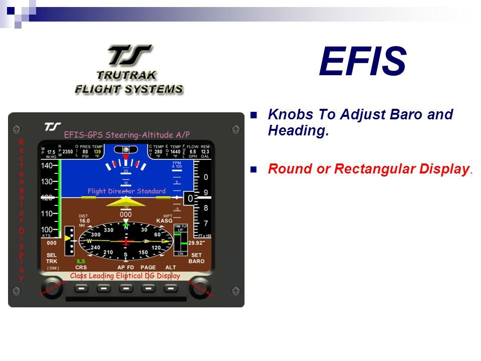 EFIS Knobs To Adjust Baro and Heading. Round or Rectangular Display.