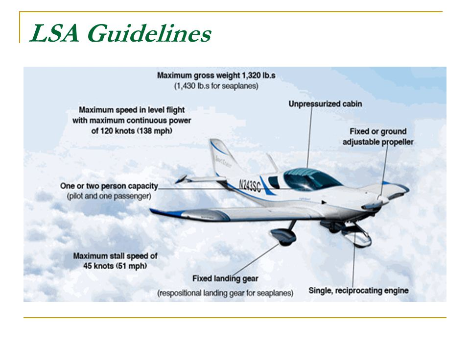 LIGHT SPORT AIRCRAFT MUST BE FLOWN ON TO THE RUNWAY. DO NOT LAND USING A FULL STALL TECHNIQUE.