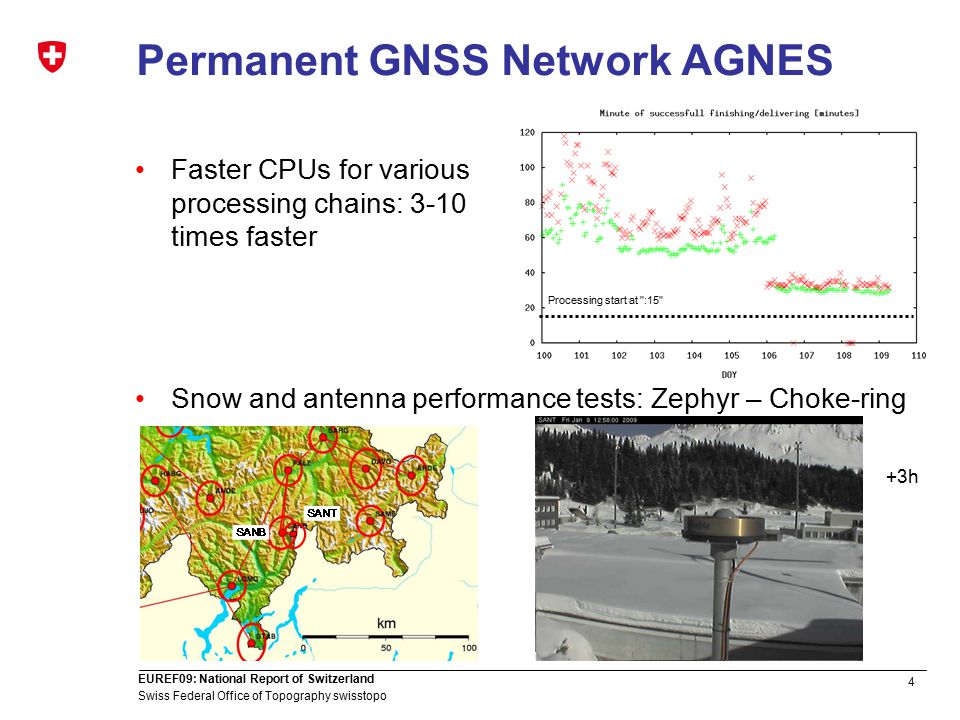 4 Swiss Federal Office of Topography swisstopo EUREF09: National Report of Switzerland Permanent GNSS Network AGNES Faster CPUs for various processing chains: 3-10 times faster Snow and antenna performance tests: Zephyr – Choke-ring Processing start at :15 +1h +2h+3h