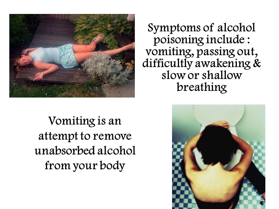 Symptoms of alcohol poisoning include : vomiting, passing out, difficultly awakening & slow or shallow breathing Vomiting is an attempt to remove unabsorbed alcohol from your body
