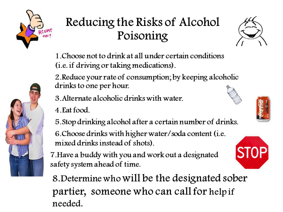 Reducing the Risks of Alcohol Poisoning 1.Choose not to drink at all under certain conditions (i.e.