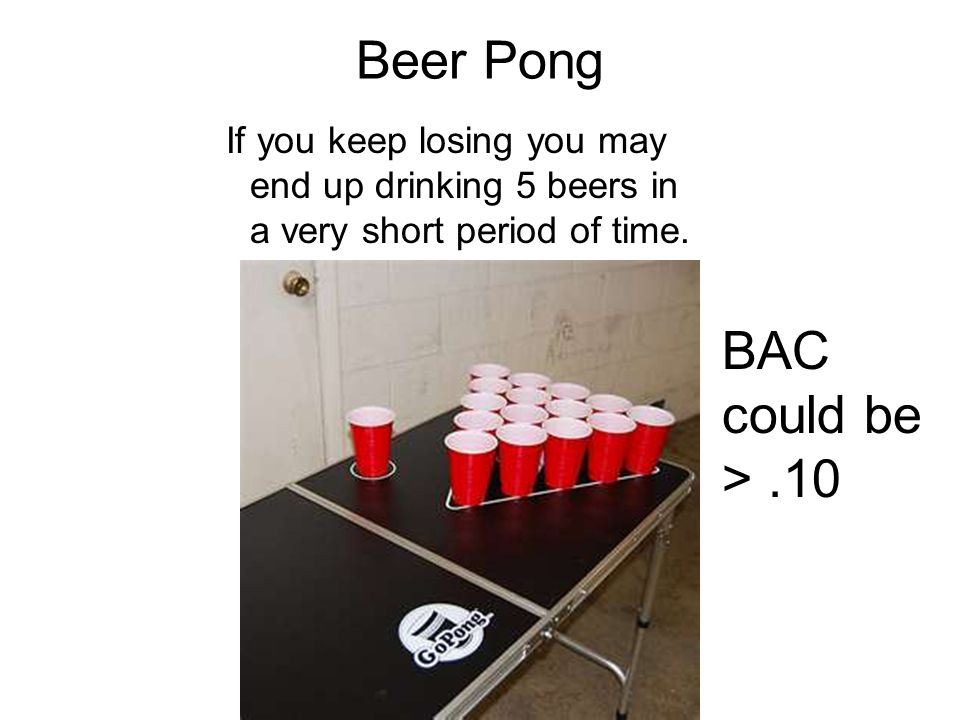 Beer Pong If you keep losing you may end up drinking 5 beers in a very short period of time.