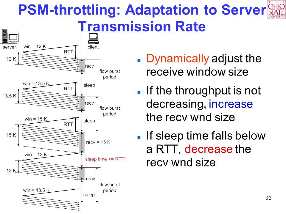 32 PSM-throttling: Adaptation to Server Transmission Rate Dynamically adjust the receive window size If the throughput is not decreasing, increase the recv wnd size If sleep time falls below a RTT, decrease the recv wnd size