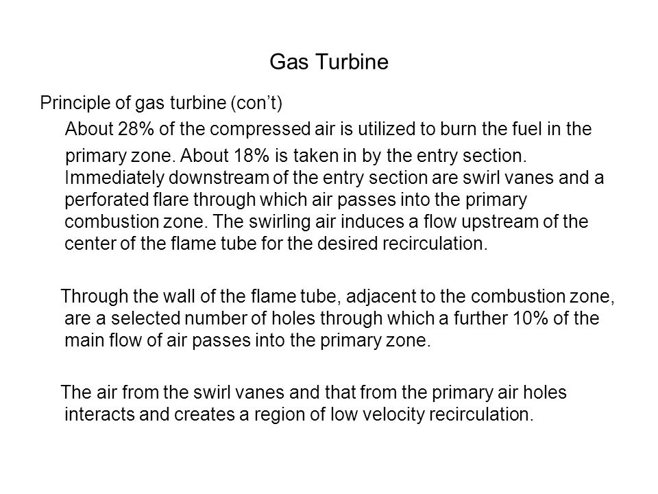 Gas Turbine Principle of gas turbine (con't) About 28% of the compressed air is utilized to burn the fuel in the primary zone. About 18% is taken in b