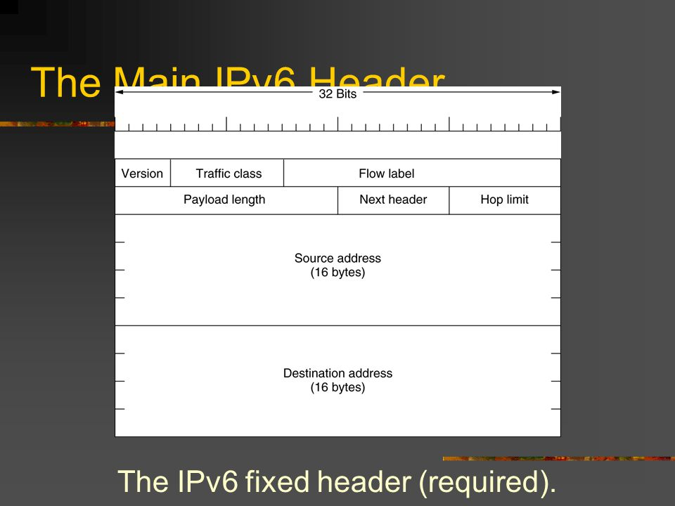 The Main IPv6 Header The IPv6 fixed header (required).