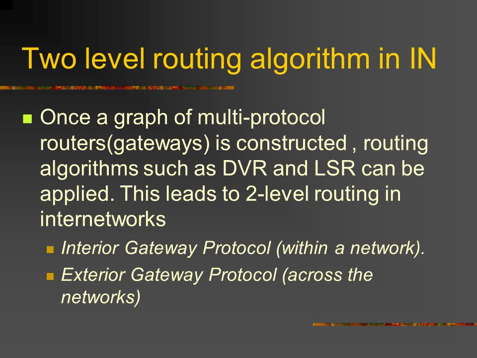 Two level routing algorithm in IN Once a graph of multi-protocol routers(gateways) is constructed, routing algorithms such as DVR and LSR can be applied.