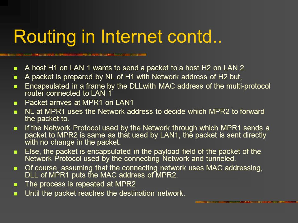 Routing in Internet contd.. A host H1 on LAN 1 wants to send a packet to a host H2 on LAN 2.
