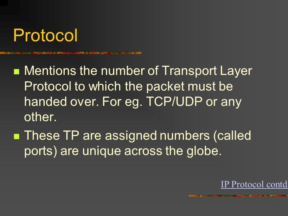 Protocol Mentions the number of Transport Layer Protocol to which the packet must be handed over.