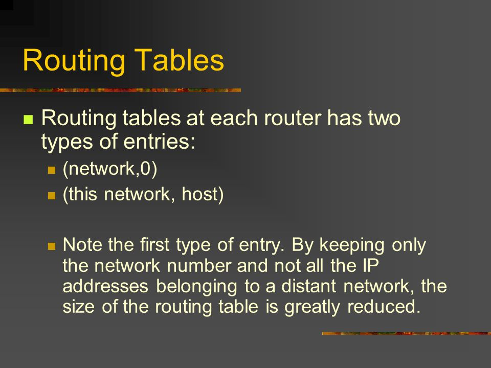 Routing Tables Routing tables at each router has two types of entries: (network,0) (this network, host) Note the first type of entry.