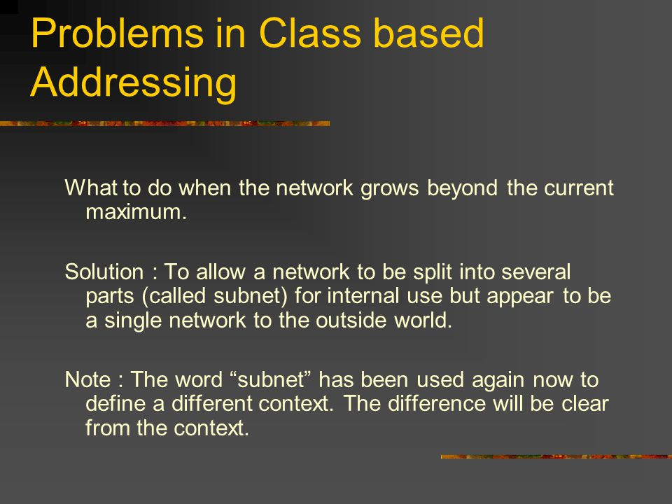 Problems in Class based Addressing What to do when the network grows beyond the current maximum.