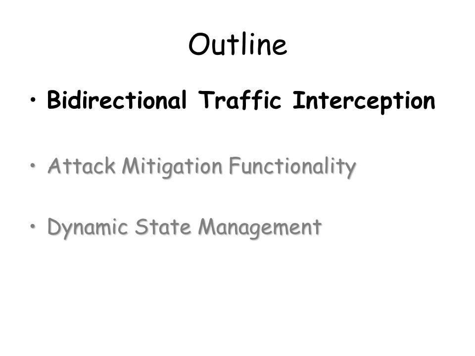Outline Bidirectional Traffic Interception Attack Mitigation FunctionalityAttack Mitigation Functionality Dynamic State ManagementDynamic State Management