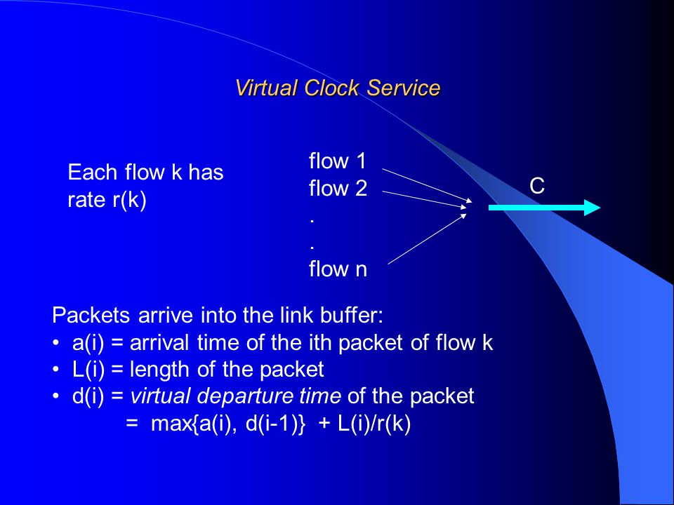 Virtual Clock Service Packets arrive into the link buffer: a(i) = arrival time of the ith packet of flow k L(i) = length of the packet d(i) = virtual departure time of the packet = max{a(i), d(i-1)} + L(i)/r(k) flow 1 flow 2.