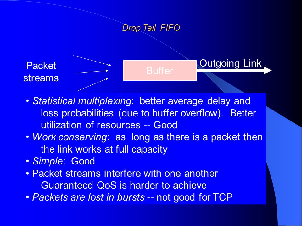 Drop Tail FIFO Statistical multiplexing: better average delay and loss probabilities (due to buffer overflow).