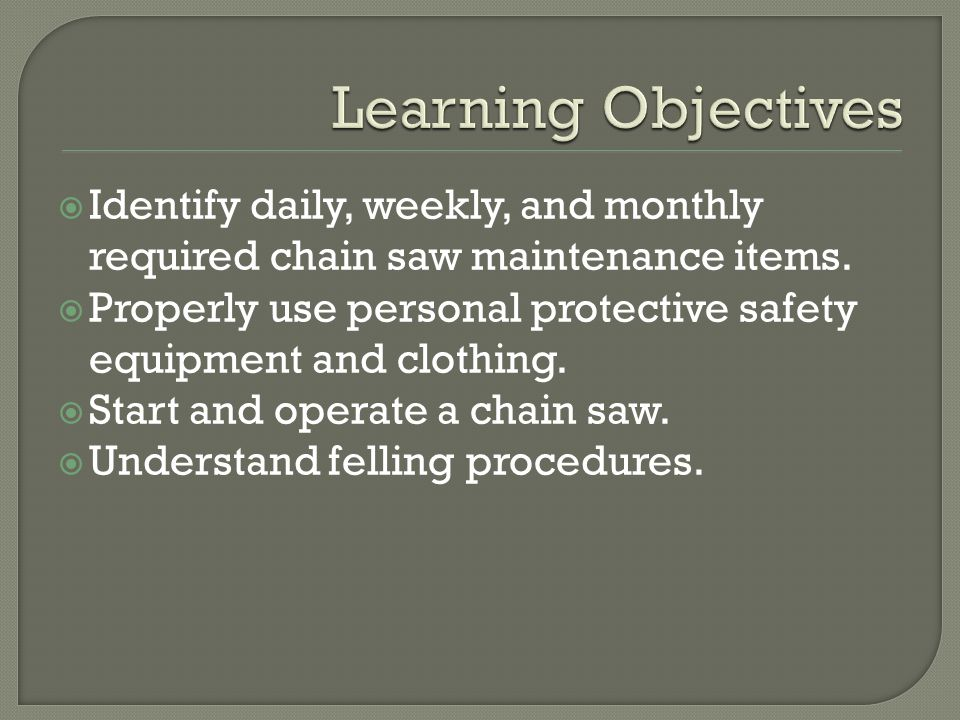  Identify daily, weekly, and monthly required chain saw maintenance items.