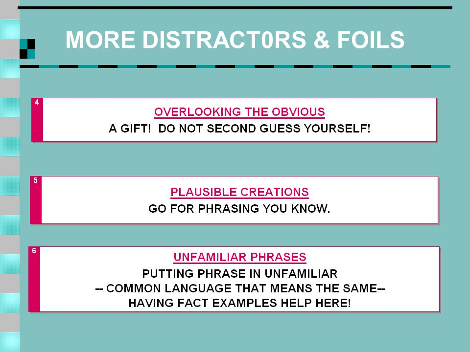 MORE DISTRACT0RS & FOILS