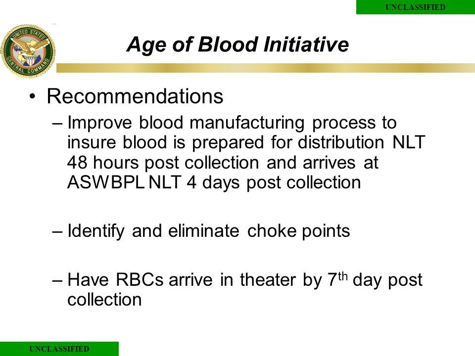 UNCLASSIFIED Age of Blood Initiative Recommendations –Improve blood manufacturing process to insure blood is prepared for distribution NLT 48 hours post collection and arrives at ASWBPL NLT 4 days post collection –Identify and eliminate choke points –Have RBCs arrive in theater by 7 th day post collection