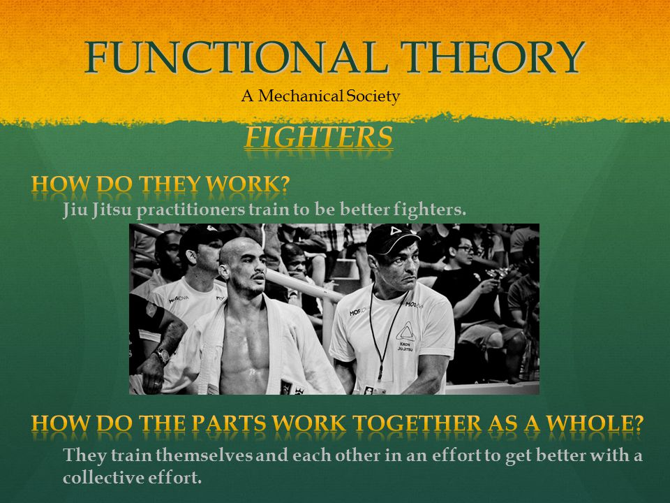 FUNCTIONAL THEORY A Mechanical Society Jiu Jitsu practitioners train to be better fighters.