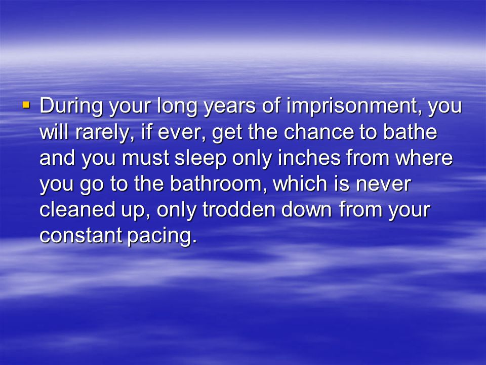  During your long years of imprisonment, you will rarely, if ever, get the chance to bathe and you must sleep only inches from where you go to the bathroom, which is never cleaned up, only trodden down from your constant pacing.