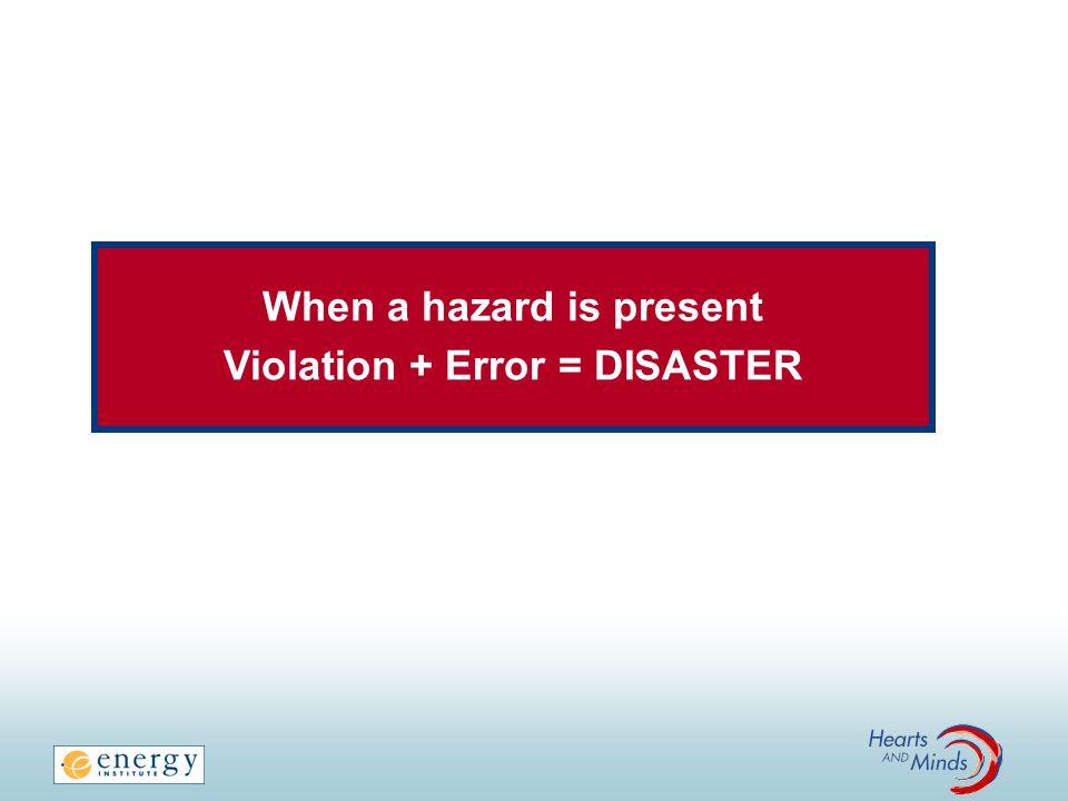 When a hazard is present Violation + Error = DISASTER