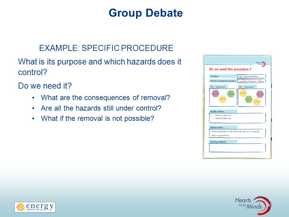 Group Debate EXAMPLE: SPECIFIC PROCEDURE What is its purpose and which hazards does it control.