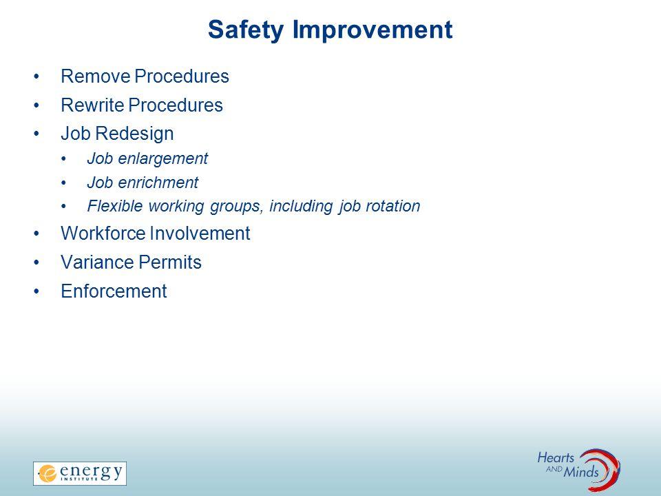 Safety Improvement Remove Procedures Rewrite Procedures Job Redesign Job enlargement Job enrichment Flexible working groups, including job rotation Wo