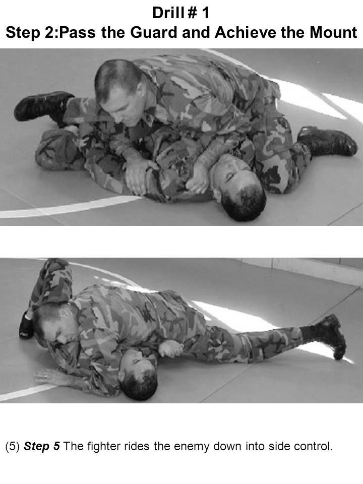 (5) Step 5 The fighter rides the enemy down into side control. Drill # 1 Step 2:Pass the Guard and Achieve the Mount