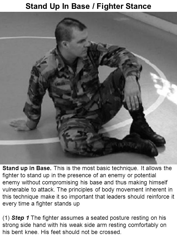 Stand Up In Base / Fighter Stance Stand up in Base. This is the most basic technique. It allows the fighter to stand up in the presence of an enemy or