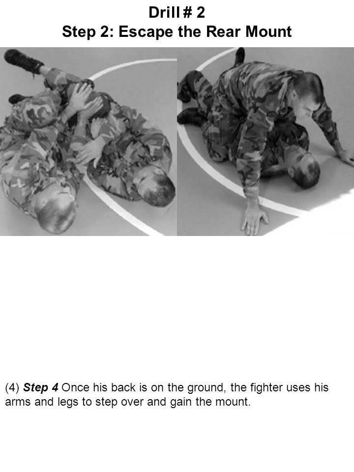 (4) Step 4 Once his back is on the ground, the fighter uses his arms and legs to step over and gain the mount. Drill # 2 Step 2: Escape the Rear Mount