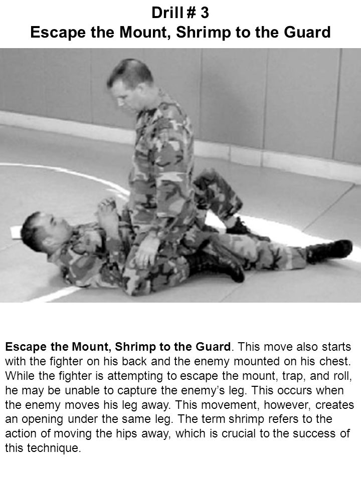 Escape the Mount, Shrimp to the Guard. This move also starts with the fighter on his back and the enemy mounted on his chest. While the fighter is att