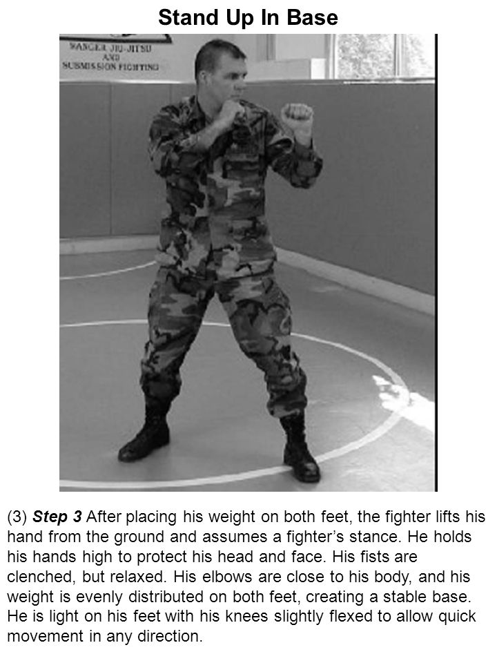 Stand Up In Base (3) Step 3 After placing his weight on both feet, the fighter lifts his hand from the ground and assumes a fighter's stance. He holds