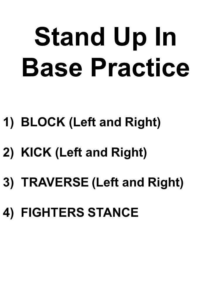 Stand Up In Base Practice 1) BLOCK (Left and Right) 2) KICK (Left and Right) 3) TRAVERSE (Left and Right) 4) FIGHTERS STANCE