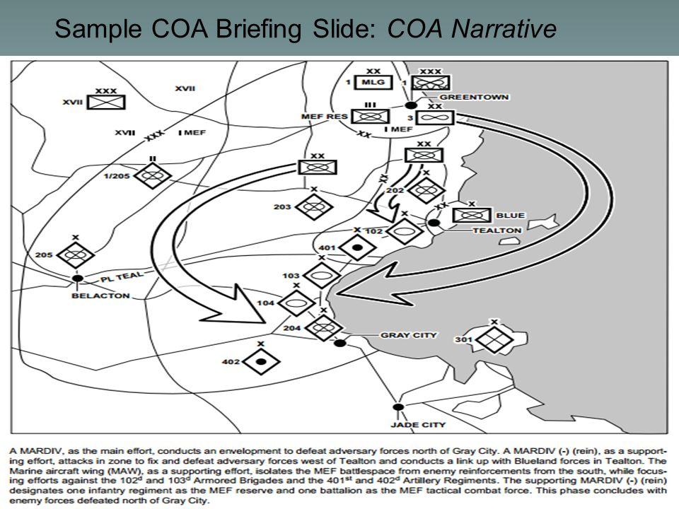 UNCLASSIFIED// Sample COA Briefing Slide: COA Narrative