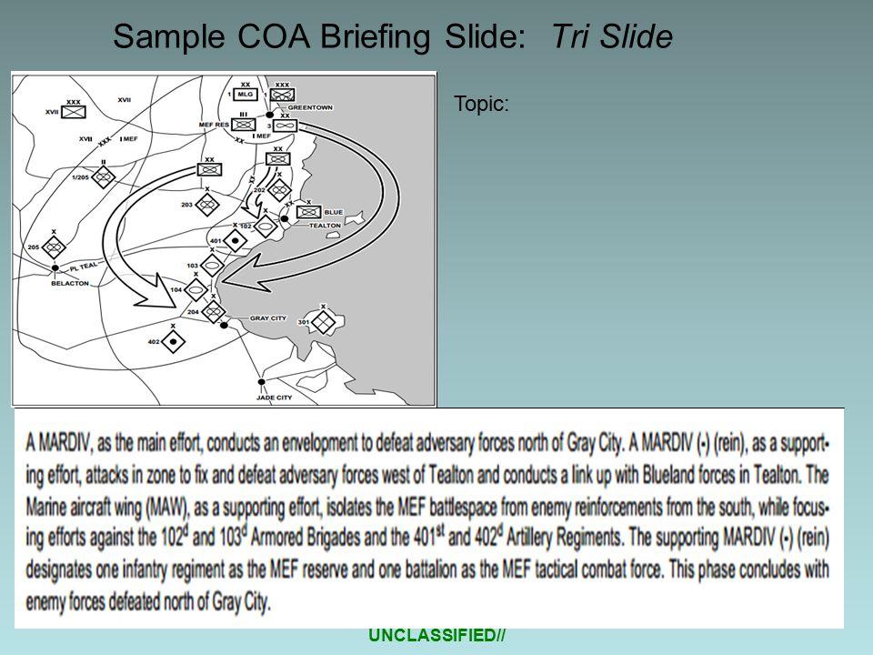 UNCLASSIFIED// Sample COA Briefing Slide: Tri Slide Topic: