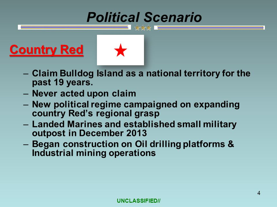 UNCLASSIFIED// Country Red –Claim Bulldog Island as a national territory for the past 19 years.