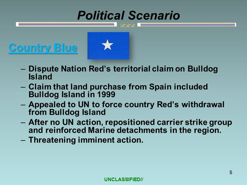 UNCLASSIFIED// Country Blue –Dispute Nation Red's territorial claim on Bulldog Island –Claim that land purchase from Spain included Bulldog Island in 1999 –Appealed to UN to force country Red's withdrawal from Bulldog Island –After no UN action, repositioned carrier strike group and reinforced Marine detachments in the region.