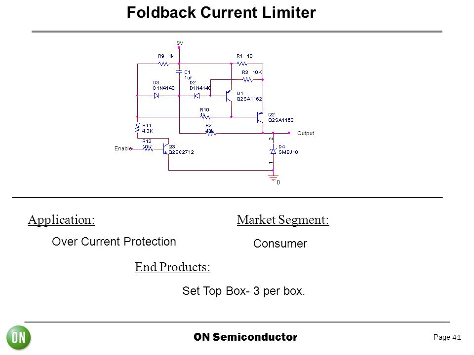 ON Semiconductor Page 41 Foldback Current Limiter 9V Output Enable Application: Over Current Protection Market Segment: Consumer End Products: Set Top