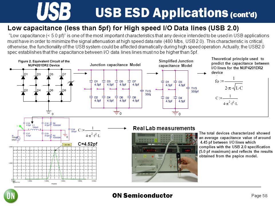 "ON Semiconductor Page 58 USB ESD Applications (cont'd) Low capacitance (less than 5pf) for High speed I/O Data lines (USB 2.0) ""Low capacitance (< 5.0"